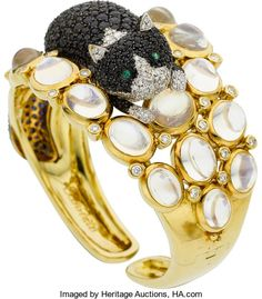 Estate Jewelry:Bracelets, Temple St. Clair Moonstone, Sapphire, Diamond, Emerald, GoldBracelet. ...