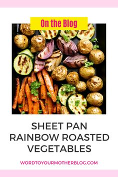 Sheet Pan Rainbow Roasted Vegetables are a fabulous way to enjoy eating healthy, colorful vegetables for adults and kids. This easy recipe is the perfect side dish for weeknight family meals or for serving a crowd during the holidays. #healthy #cleaneating #family #meal #dinner #kids Healthy Recipes For Weight Loss, Good Healthy Recipes, Clean Eating Recipes, Low Carb Recipes, Easy Meal Prep, Healthy Meal Prep, Eating Healthy, Easy Meals, Savory Snacks
