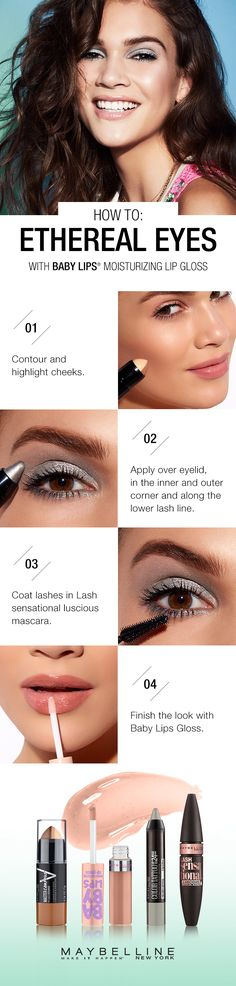 """Learn how to get this soft metallic eye look by following this step by step makeup tutorial from  Maybelline New York. Step 1: Contour and highlight cheeks with Master Contour Stick. Step 2: Apply Color Tattoo Crayon in """"Grey Crystal"""" in the inner and outer corner and along the lower lash line. Step 3: Coast lashes with Lash Sensational Luscious Mascara. Step 4: Finish the look with Baby Lips Gloss! Now you're ready to take on the school year."""