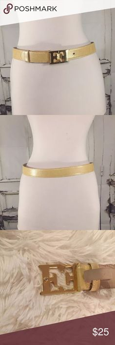 "Vintage ESCADA Leather Belt Gold Buckle  40 35"" Vintage ESCADA Women's Leather Belt Gold Buckle Es Logo Italy Yellow 40 35"" / SPEND 50 OR MORE AND GET A FREE GIFT / OFFERS WELCOME Escada Accessories Belts"