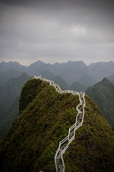 guangxi, china (the stairs almost ruin this beautiful landscape, but what a view it would be from the top!)