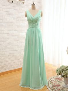 Long Chiffon V Neck Bridesmaid Dress At Bling Brides Bouquet - Online Bridal Store