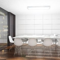Rectangular ceiling light for fluorescent tubes. Sleek design with an aluminum frame and an opal PMMA diffuser. Fluorescent Tubes, Office Ceiling, Office Lighting, Studio, Diffuser, Lamps, Opal, Surface, Ceiling Lights