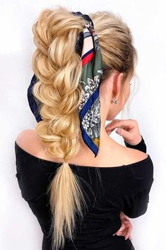 High Pony With Head Scarf. Girls who don't believe that there are easy updos that can be done at home, this article is for you! We will show you that not all the beautiful hairstyles are complicated and share with you ideas on how to style it with ease. Check out the ideas and tutorials we've prepared for you! #longhairstyles #easyhairstyles #hairstyles