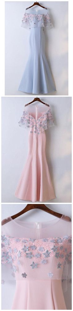 Mermaid Prom Dresses, Pink Prom Dresses, Cape Sleeve Prom Dresses,Cheap Prom Dresses,Plus Size Prom Dresses,Prom Dresses Cheap, Prom Dresses 2018,long Prom Dresses, #eveningdresses #eveninggowns #formaleveningdresses #promdresses #ballgowns