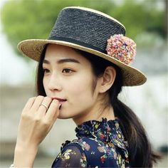 000c11eb Khaki and black color block straw boater hat with pom poms for women flat  brim sun hats
