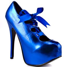 Hey Donna... these totally made me think of you! Viva Bordello - City Of Angels - Blue Metallic Pu. In related news... I'd sure like to figure out why I can tag SOME pinterest folks but not others. annoying!
