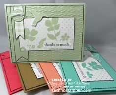 Notecard set by Techno Stamper: Monday Lunchtime Sketch Challenge 263 (TSSC263) ... same design and image for each ... different colors and embossing folder texture for each ... Stampin' Up!