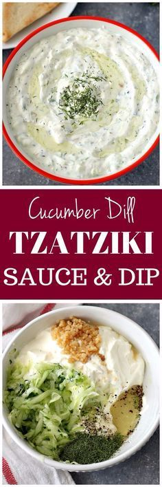 Tzatziki Sauce Recipe - creamy garlic, cucumber and dill sauce and dip. Perfect served with Greek chicken or with crispy pita chips.