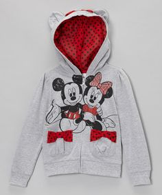 Take a look at this Heather Gray Mickey & Minnie Hoodie - Girls by Disney on #zulily today!