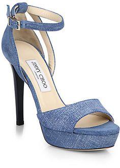 Jimmy Choo Kayden Platform Denim Sandals, Saks Fifth Ave $850