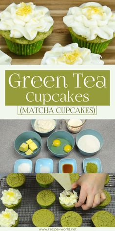 Matcha food has taken over the world. Everything from drinks to pastries now has a matcha variety. These green tea cupcakes will surely satisfy your matcha cravings. Green Tea Cupcakes, Matcha Cupcakes, Green Tea Dessert, Matcha Dessert, Matcha Cake, Healthy Cupcakes, Green Tea Recipes, Sweet Recipes, Cupcake Recipes
