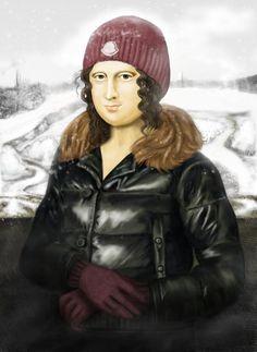 0057 [Elena Simonova] Mona Lisa (I love this! She looks like a Canadian Mona! This is so fantastic! Mona Lisa Smile, Michelangelo, Lisa Gherardini, Monet, Mona Lisa Parody, Monalisa, Famous Art, Arts Ed, Art History