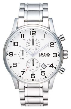Free shipping and returns on BOSS 'Aeroliner' Chronograph Bracelet Watch, 44mm at Nordstrom.com. A trio of chronograph subdials lend aviation-inspired style to a handsome bracelet watch that exudes speed and precision.