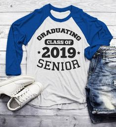 3675a89fca3 Men s Graduating Class 2019 Senior Raglan Graduation Gift Idea Graduate  Shirt 3 4 Sleeve