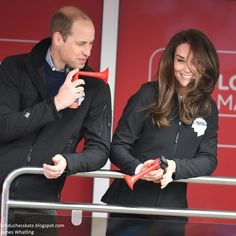 hrhduchesskate:  HeadsTogether Charity of the Year, 2017 Virgin Money London Marathon, April 23, 2017-William teases Catherine with his air horn
