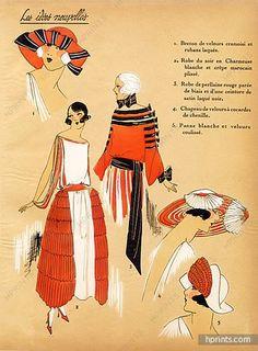 1923 ''Les Idees Nouvelles de la Mode'' Fashion Art Deco Pochoir ''Tres Parisien''