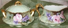 Antique German Handpainted Cream Pitcher Sugar Bowl Violets Signed A R Peters