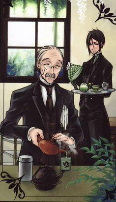 Tags: Anime, Kuroshitsuji, Sebastian Michaelis, Tanaka, Yana Toboso THIS reminds me of the one show right before the Manor burns down... IDK why...