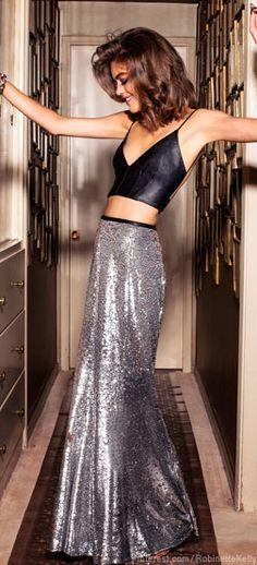 Lulu silver sequin maxi skirt