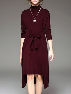 Shop Midi Dresses - Wine Red Casual Asymmetric Turtleneck H-line Midi Dress…