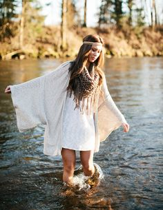 Modern hippie chic kaftan with boho fringe gypsy soul scarf. FOLLOW http://www.pinterest.com/happygolicky/the-best-boho-chic-fashion-bohemian-jewelry-gypsy-/ for the BEST Bohemian fashion trends in clothing & jewelry.