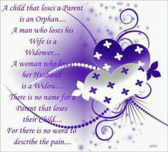 For there is NO NAME for the pain, the loss of a child.  :(..