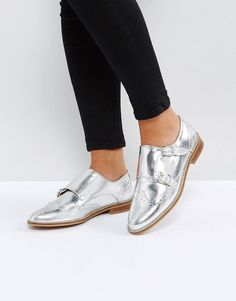 8d17b0db58f8 ASOS MISTER Leather Monk Shoes - Silver Metallic Flats