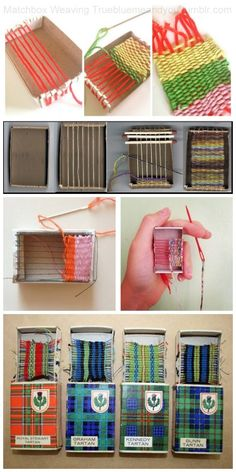 Roundup of 5 Matchbox Weaving Tutorials and Inspiration.From Top to Bottom: Matchbox Weaving byMargaret Muirhead for Homemade City. Excellent Matchbox Weaving Tutorial from Tangle Crafts. Left Photo:Woven Matchbox Whisper Woven by Eben and Sarah o a Weaving Textiles, Weaving Art, Loom Weaving, Tapestry Weaving, Matchbox Crafts, Matchbox Art, Yarn Crafts, Diy And Crafts, Kids Crafts