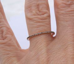 Micropave Diamond Band, Stacking  Ring, Diamond  Ring, Eternity Band, Wedding Band. $350.00, via Etsy.