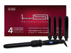 """HSI PROFESSIONAL CURLING IRON SET. 4 BARREL SIZES 3/4"""",1"""",1.5"""" AND 3/4-1"""" DUAL VOLTAGE 110-220V PROFESSIONAL SALON MODEL. FREE GLOVE INCLUDED WITH CURLING WAND."""