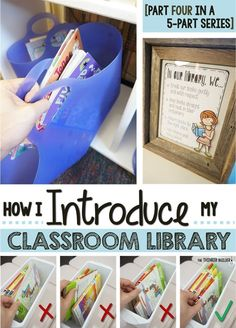 AMazing organization and lessons for the library! How I INTRODUCE My Classroom Library [Part Four in the Classroom Library Series] from The Thinker Builder 3rd Grade Classroom, Kindergarten Classroom, School Classroom, Classroom Libraries, Classroom Ideas, Future Classroom, Book Boxes Classroom, Seasonal Classrooms, Preschool Bulletin