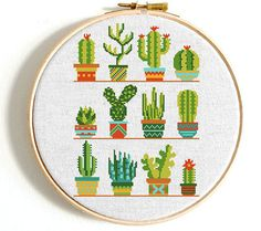 Cactus cross stitch pattern. Natural embroidery sampler. Flower, floral cross stitch. PDF printable sampler. Modern birthday Gift No283 This is a digital item. The PDF file of the pattern will be available for instant download once payment is confirmed. Instant Digital Download: in 5