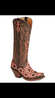 Pink and brown swirly hearts cowboy boots Cowgirl Boots, Western Boots, Riding Boots, Boot Scootin Boogie, Boot Jewelry, Country Boots, Boot Bling, Cowboy Up, Only Shoes