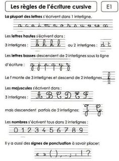 les règles de l'écriture cursive French Cursive, French Handwriting, Learning Activities, Kids Learning, French Education, French Classroom, Educational Websites, French Lessons, Teaching French