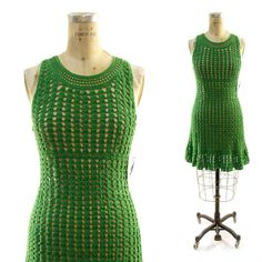 Vintage 90's Grass Green Knit Dress with Empire by nickiefrye, $68.00