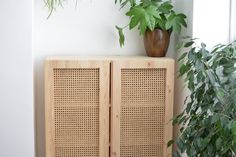 Learn how to take a basic wooden IKEA Ivar unit and transform it step-by-step into an expensive-looking faux cane cabinet by simply removing a panel from the doors to customize it . Ikea Furniture Hacks, Eco Furniture, Cane Furniture, Furniture Makeover, Furniture Design, Luxury Furniture, Furniture Cleaning, Furniture Assembly, Furniture Stores