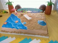 Beach cake great way to decorate a slab cake :)
