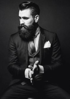 Ricki Hall, looking impossibly dapper - full thick dark beard and mustache beards bearded man men mens' style suit and ties suits hair hairstyle #sharpdressedman #beardsforever