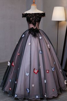 Princess Black Tulle Off Shoulder Long Prom Dress with Butterfly Appliques N1319