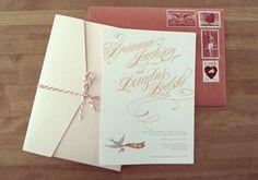 bird and ribbon script invitations   Photo by Anne Nunn Photography