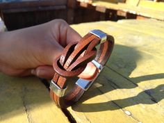 Mens leather bracelet / brown leather wrap men's bracelet with stainless steel…