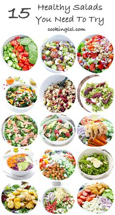 15 Salads Tomato Cucumber And Spinach Salad With Avocado Parsley Dressing Village Salad Arugula Smoked Salmon And Cucumber Salad Kale Persimmon Salad Roasted Beet Salad … Healthy Meal Prep, Healthy Salad Recipes, Healthy Eating, Meal Prep Salads, Simple Salad Recipes, Clean Eating Recipes For Weight Loss, Clean Eating Salads, Chopped Salad Recipes, Salads For Lunch