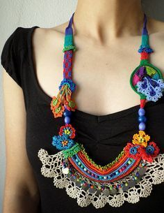 Items similar to beaded crochet statement necklace - with orange, red, blue and green beaded flowers and cream crochet lace on Etsy Crochet Leaf Patterns, Form Crochet, Bead Crochet, Irish Crochet, Crochet Lace, Textile Jewelry, Fabric Jewelry, Beaded Jewelry, Jewellery