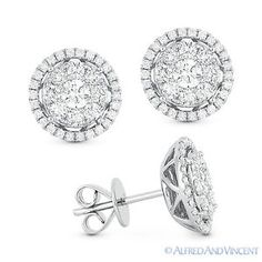 The featured earrings are cast in white gold and showcase circle centerpieces paved with round brilliant cut diamonds accentuated by round cut diamond accents set all the way around the halo designs. Gold Diamond Earrings, Ring Earrings, Modern Jewelry, Fine Jewelry, Jewellery, Affordable Jewelry, Round Diamonds, White Gold, Halo