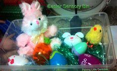 Easter Sensory Bin. This couldn't be more simple to put together and is entertaining to toddlers!