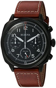 Bulova Men's 'Classic' Quartz Stainless Steel and Leather Watch, Color:Brown (Model: From the Military Collection. Chronograph in stainless steel with Bulova Mens Watches, Mens Watches For Sale, Army Watches, Vintage Watches For Men, Mens Watches Leather, Luxury Watches For Men, Wrist Watches, Amazing Watches, Cool Watches