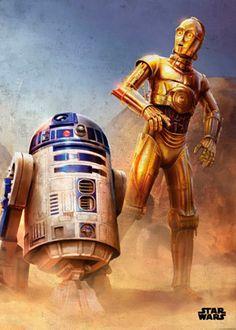 Poster metálico R2-D2 y C-3PO, 45 x 32 cm. Star Wars Episodio IV  Un poster metálico con los inseparables droides R2-D2 y C-3PO vistos tal como los vimos en Star Wars Episodio IV.  Por su estructura de metal este poster es resistente y además de fácil montaje.