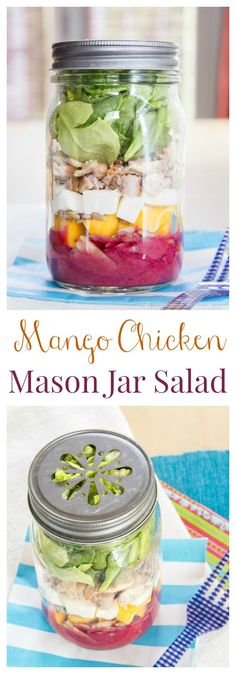 Mango Chicken Mason Jar Salad with Lemon Blueberry Chia Seed Vinaigrette - a simple and healthy make-ahead lunch for summer. | cupcakesandkalechips.com | gluten free recipe