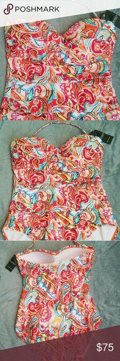 New Ralph Lauren swimming suit Very pretty colors. It has detachable straps. Ralph Lauren Swim One Pieces